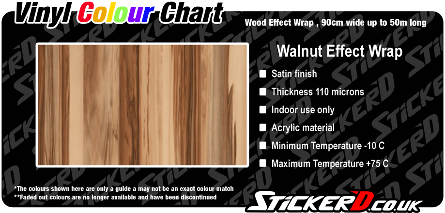 Walnut Effect Wrap, Satin Finish, 90cm Wide
