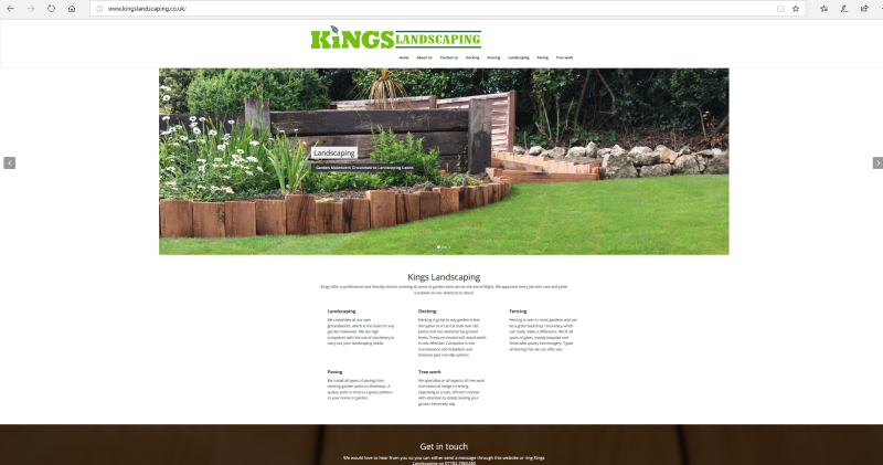 Kings Landscaping website, built by Kerry @ Sticker in 2018, a typical point of contact website