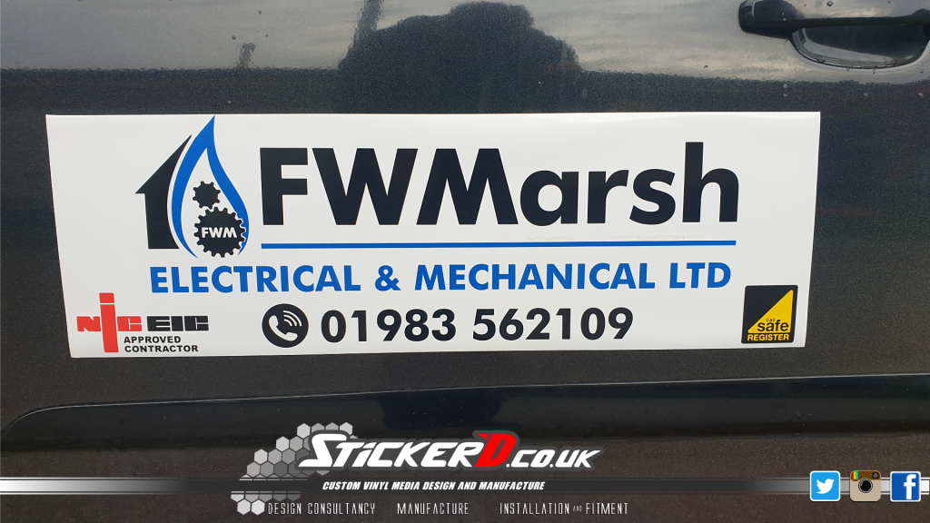 FW Marsh Ltd, magnetic signs finished in 5 year vinyl on motorway grade material