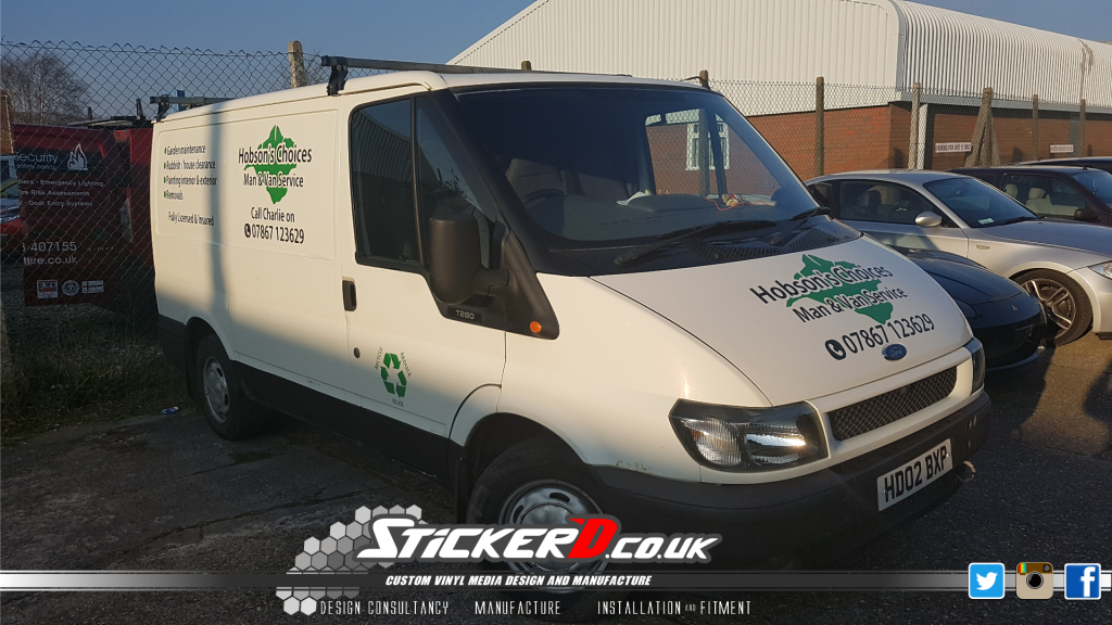 Hobson's Choices Ford Transit sign written by Sticker'D